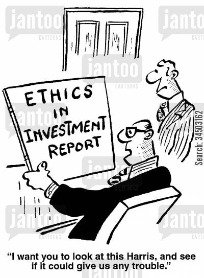 investment reports cartoon humor: I want you to look at this, Harris, and see if it could give us any trouble.
