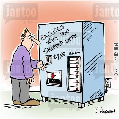 days off cartoon humor: Man needs to buy excuse for missing work from vending machine.
