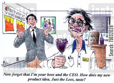brewers cartoon humor: 'Now forget that I'm your boss and the CEO. How does my new product idea, Just the Lees, taste?'