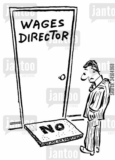 payraise cartoon humor: Wages director's doormat: 'No.'