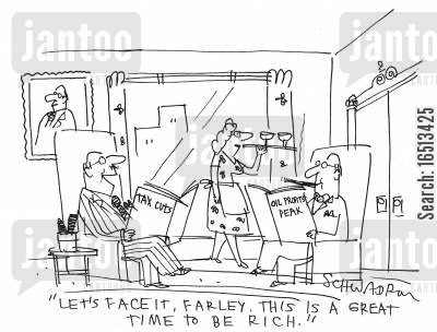 oil peak cartoon humor: 'Lets face it, Farley. This is a great time to be rich.'