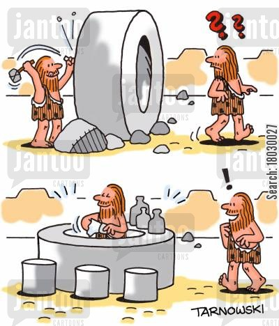 invention cartoon humor: Caveman turning the wheel into a bar.
