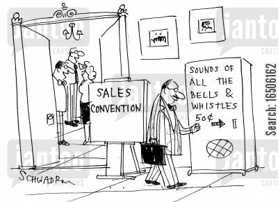 sales convention cartoon humor: Sales convention - Vending machine 'Sounds of all the bells & whistles, 50c'.