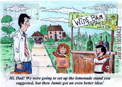 suburbs cartoon humor: 'Hi, Dad! We were going to set up the lemonade stand you suggested, but then Jamie got an even better idea!'