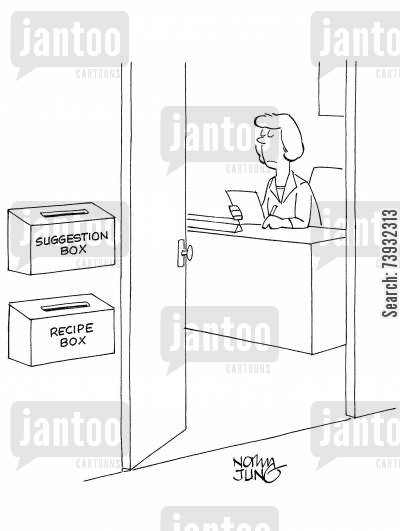 innovators cartoon humor: Woman manager has suggestion box and a recipe box outside her office.