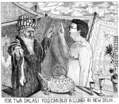 marketplace cartoon humor: 'For twa dalasi you can buy a lungi in New Delhi.'