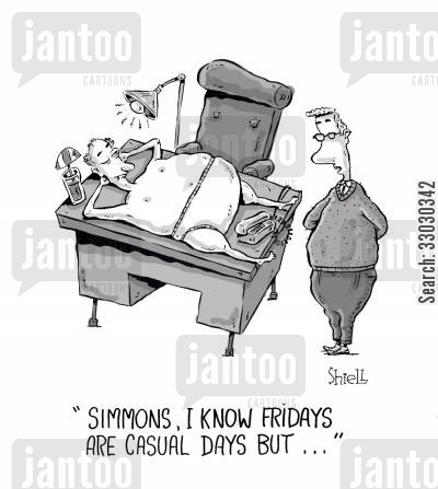 suit and tie cartoon humor: Simmons, I know Fridays are casual days, but...
