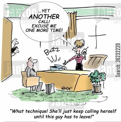 busy women cartoon humor: What technique! She'll just keep calling herself until this guy has to leave!