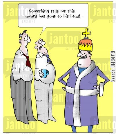 appraisal cartoon humor: Ssomething tells me this award has gone to his head!