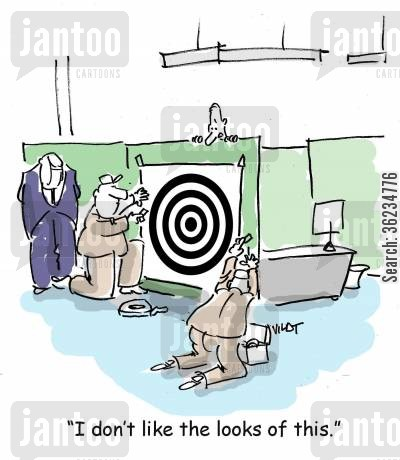 bullseye cartoon humor: I don't like the looks of this.
