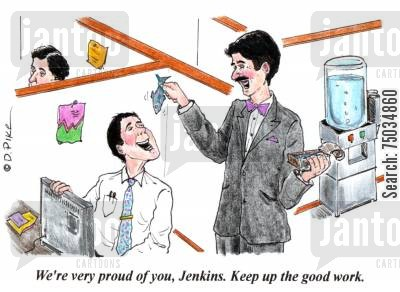 sardine cartoon humor: 'We're very proud of you, Jenkins. Keep up the good work.'