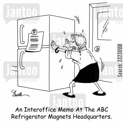 interoffice cartoon humor: An Interoffice Memo At ABC Refrigerator Magnets Headquarters.
