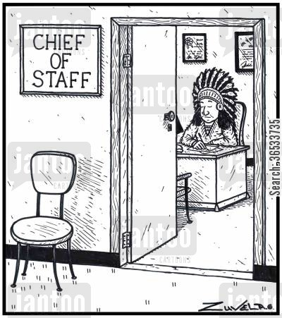 indigenous cartoon humor: Chief of Staff A North American Indian working away in an office.