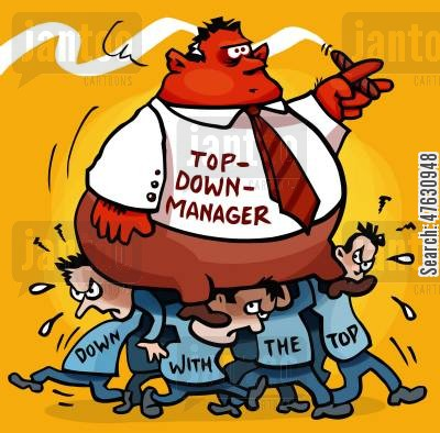 management styles cartoon humor: Top down management style