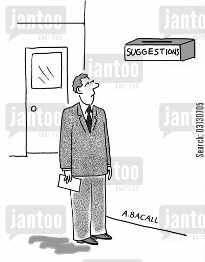 employee feedback cartoon humor: Suggestion box.