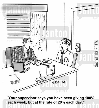 giving 100 cartoon humor: Your supervisor says you have been giving 100 every week, but at the rate of 20 a day.