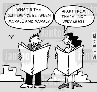 feeling good cartoon humor: What's the difference between morale and moral? Apart from the e, not much.