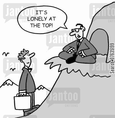 tough at the top cartoon humor: It's lonely at the top!