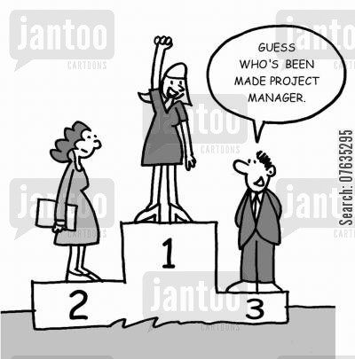 project managers cartoon humor: Guess who's been made project manager.