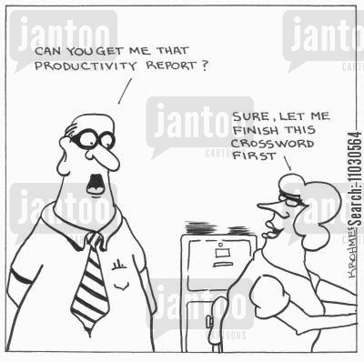 lazy workers cartoon humor: 'Can you get me that productivity report?' 'Sure, let me finish this crossword first.'