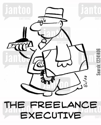 freelancers cartoon humor: The freelance executive.