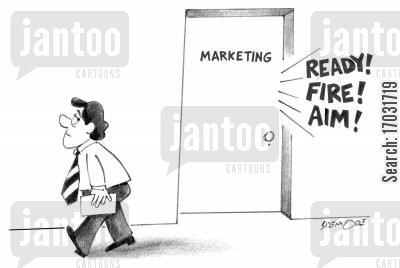 sacking cartoon humor: Marketing: READY! AIM! FIRE!