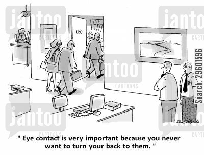 eye contact cartoon humor: 'Eye contact is very important because you never want to turn your back to them.'