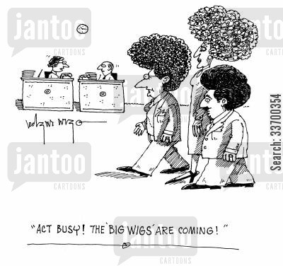 afro cartoon humor: 'Act busy! The 'big wigs' are coming!'
