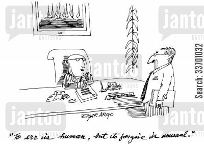 to err is human cartoon humor: 'To err is human, but to forgive is unusual.'