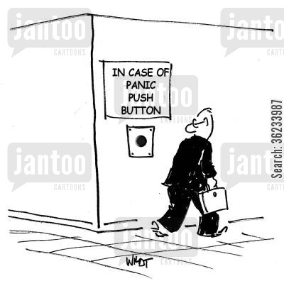 panic alarm cartoon humor: In case of panic, push button.
