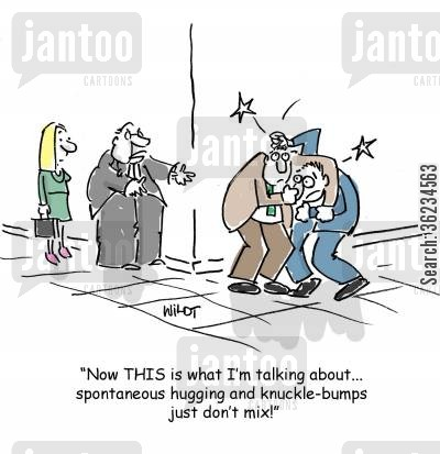 knuckle bumps cartoon humor: Hugs and knucklebumps don't mix.