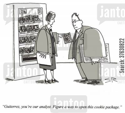 packages cartoon humor: 'Guiterrez, you're our analyst, Figure a way to open this cookie package,'