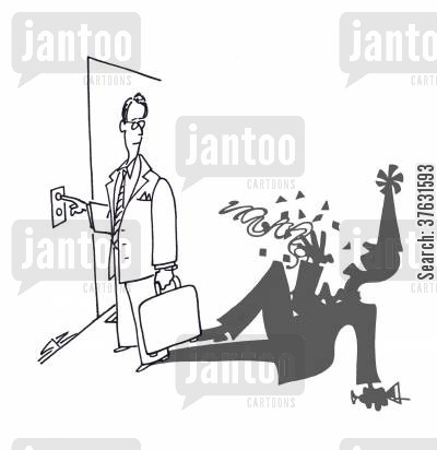 office party cartoon humor: Shadow Party Guy,