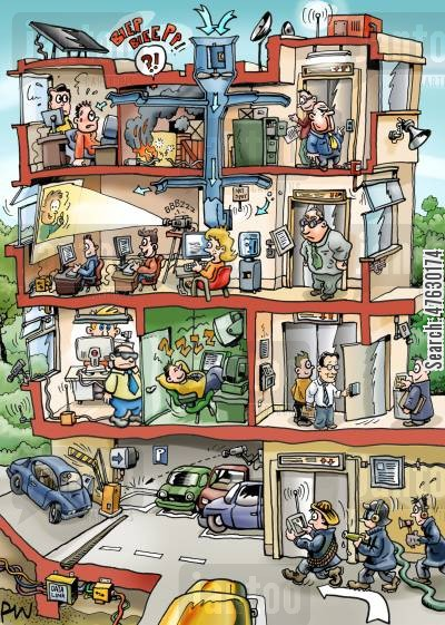 office buildings cartoon humor: Cutaway drawing of office building.