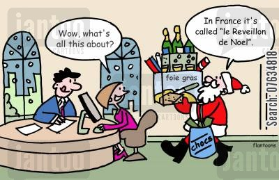 father xmas cartoon humor: Wow, what's all this about?