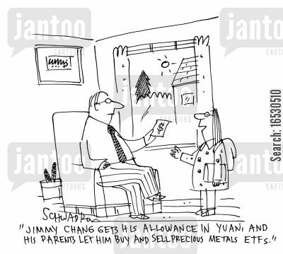 entrepreneurial cartoon humor: 'Jimmy Chang gets his allowance in Yuan, and his parents let him buy and sell precious metals...'