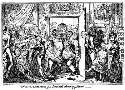 upper class cartoon humor: A Reception at the Queen's House, now Buckingham Palace (Engraved BW Version)