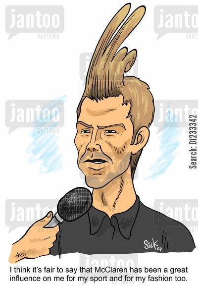 david beckham cartoon humor: 'I think it's fair to say McClaren has been a great influence on me for my sport and my fashion too.'