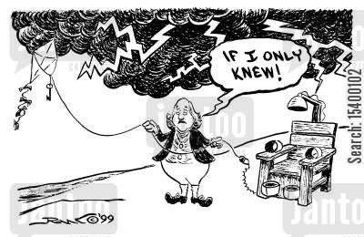 electric chair cartoon humor: Benjamin Franklin 'If I only knew,'