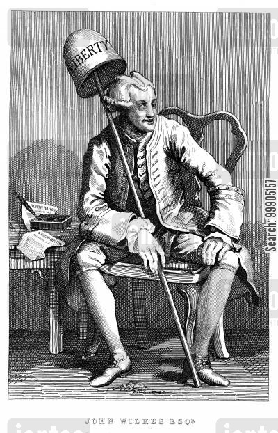 fool's cap cartoon humor: John Wilkes Esq.