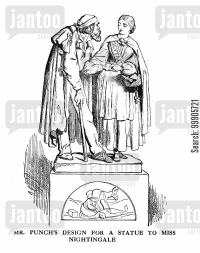 memorial cartoon humor: Mr Punch's Design for A Statue to Miss Nightingale