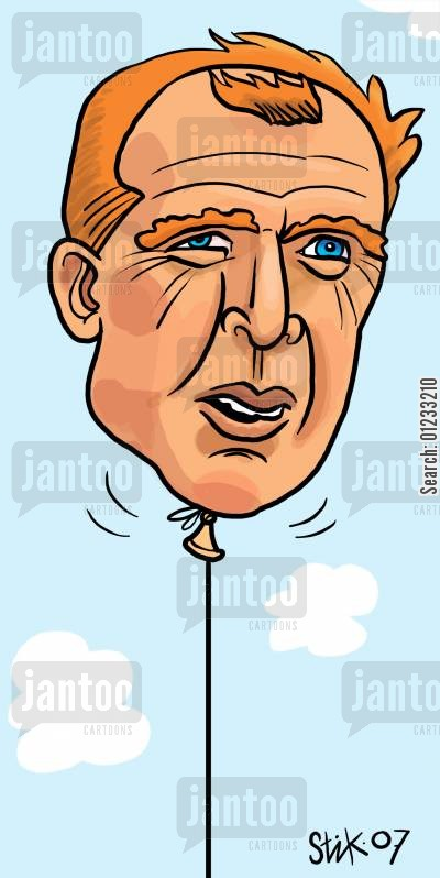 macclaren cartoon humor: McClaren as a helium balloon.