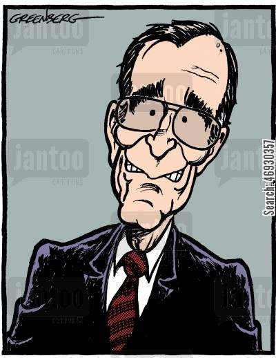 american presidents cartoon humor: Bush Senior.