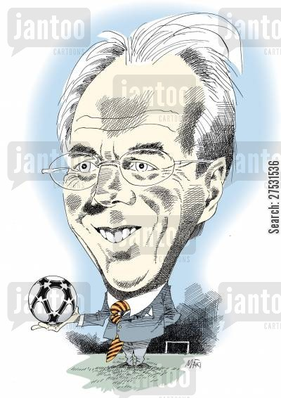 football team cartoon humor: Sven-Goran Eriksson.