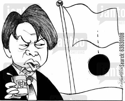 taking medicines cartoon humor: Japan's Minister of Finances Shoichi Nakagawa and his medicine.