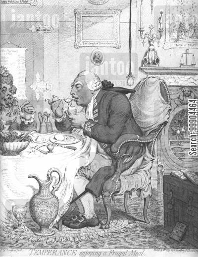 meal cartoon humor: George III Enjoying a Frugal Meal