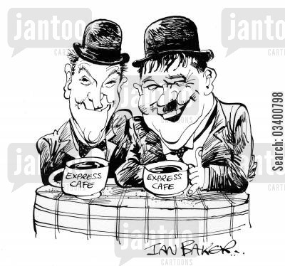 the music box cartoon humor: Laurel and Hardy.