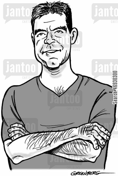moguls cartoon humor: Simon Cowell caricature.