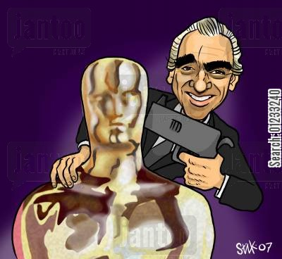 film director cartoon humor: Scorsese's Oscar.