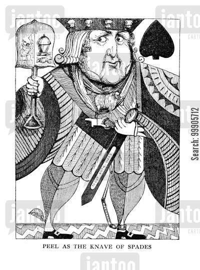 knaves cartoon humor: Peel as the Knave of Spades